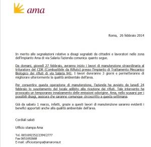 nota ufficio stampa AMA